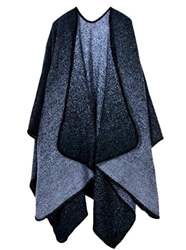 Aivtalk Damen Warm Poncho Cape Schal für Herbst Winter Elegant und Chic Grau 128x148cm