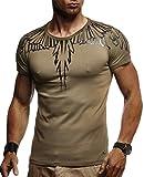 LEIF NELSON Herren Männer T-Shirt Hoodie Sweatshirt Crew Neck Rundhals Ausschnitt Kurzarm Longsleeve modern Basic Shirt Vintage Baumwolle-Anteil LN940; Größe XXL, Khaki