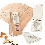 10 Stück kleine braune Block-Bodenbeutel MIT FENSTER + Pergamin-Einlage 10,5 x 6,5 x 29 cm + 10 rot weiße Aufkleber VON HERZEN - Papiertüten für Gebäck Pralinen - lebensmittel-echt