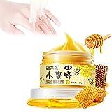 Máscara de cera de mano, leche de miel Mascarilla de cera de mano Cuidado de las manos Hidratante Blanqueamiento Cuidado de la piel Exfoliante para conos