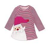 Longra Kinder Baby Mädchen Santa Striped Prinzessin Kleid Weihnachten Outfits Kleidung Herbst-Winter Langarm Mädchen T-Shirt-Kleid(0-6Jahre) (120CM 5Jahre, Red)