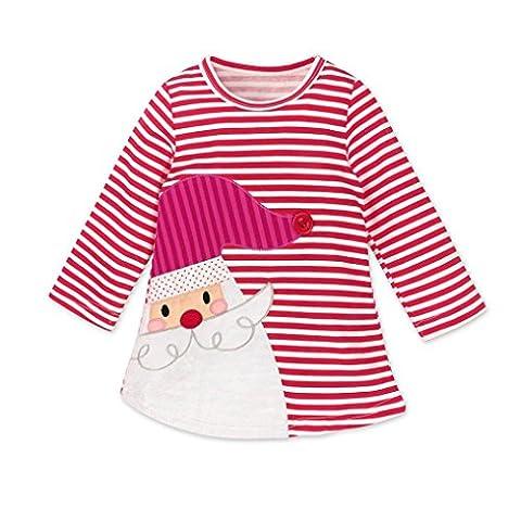 Longra Kinder Baby Mädchen Santa Striped Prinzessin Kleid Weihnachten Outfits Kleidung Herbst-Winter Langarm Mädchen T-Shirt-Kleid(0-6Jahre) (130CM 6Jahre, Red)