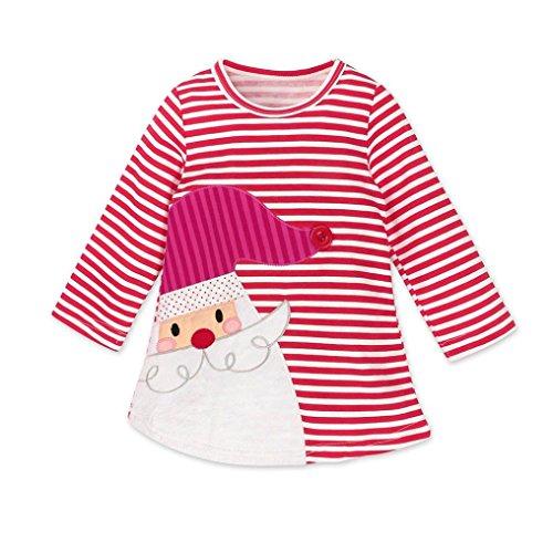 Longra Kinder Baby Mädchen Santa Striped Prinzessin Kleid Weihnachten Outfits Kleidung Herbst-Winter Langarm Mädchen T-Shirt-Kleid(0-6Jahre) (100CM 3Jahre, Red) (Santa Outfit Mädchen)