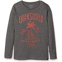 Quiksilver Ls ClassicYouth Shark Island - Camiseta de manga larga para niño, color gris, talla M