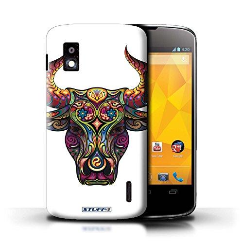 Kobalt® Imprimé Etui / Coque pour LG Nexus 4/E960 / Taureau conception / Série Animaux décoratifs Taureau