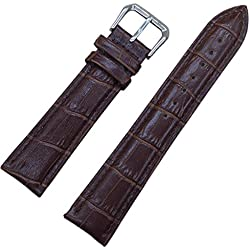 24mm Brown Soft Genuine Leather Alligator Grain Watch Band Strap Calf Watchband Pin Buckle
