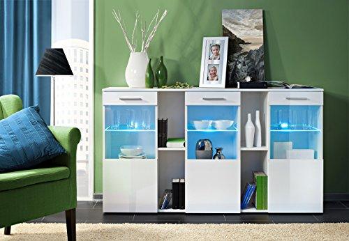Juub Sideboard Kommode Schrank Anrichte DORADE Hochglanz LED Beleuchtung TOP DESIGN - Dorade Crystal