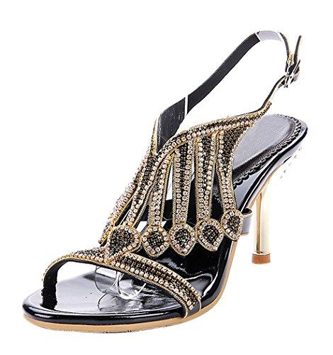 honeystore-damens-handgemacht-schichten-strass-stckel-absatz-sandalen-schwarz-40-eu