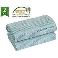 Bloomsbury Mill - Twin Pack - 100% Pure Cotton - Extra Soft Cellular Baby Blankets - Pram/Travel/Moses Basket - Blue