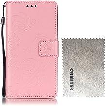 Samsung Galaxy Note 4 Funda , Camiter rosado Diseño de mariposa en relieve Cover Carcasa Con Flip Case TPU Gel Silicona,Cierre Magnético,Billetera con Tapa para Tarjetas para Samsung Galaxy Note 4 + Paño de limpieza gratuito