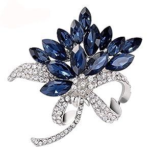 Donna Legato Spilla Strass Coreano Perla Moda Fibbia Sciarpa Accessori Blu,Blue-L