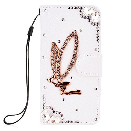SMARTLEGEND PU Pelle Cover per Nokia Lumia 650,Interno Rigida Leather Wallet Stand Case per Porta Carte di Credito, Disegno di Cristallo Bling Strass Diamond Protettiva Portafoglio Custodia Bianco Caso con Cordoncino - Angel Girl