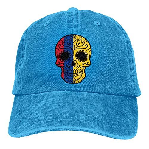 Blue Sugar Kostüm Skull - Baseball Caps für Herren/Damen,Golf-Kappen,Colombia Flag Sugar Skull Men's Women's Adjustable Jeans Baseball Hat Denim Jeanet Trucker Hat Sports Cool Youth Golf Ball Unisex Cowboy hat fedora beach hi