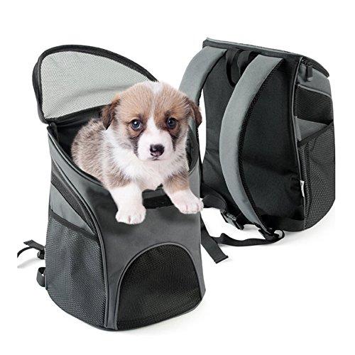 WLDOCA Hundetasche Hundetragetasche Katzentragetasche Atmungsaktiv Reise Hunde Katzen Kleintiere Haustiere Tragetasche Transporttasche Transportbox, 35 * 29Cm,Grau