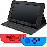 Protective Cases for Nintendo Switch and Joy-Con Controller, AFUNTA PU Leather Stand Holder, with 2 Anti-slip Silicone Grips Cover - Black, Blue + Red
