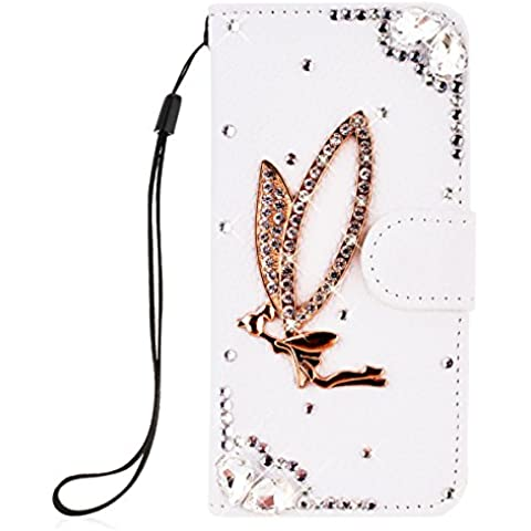 SMARTLEGEND PU Pelle Cover per Nokia Microsoft Lumia 535,Interno Rigida Leather Wallet Stand Case per Porta Carte di Credito, Disegno di Cristallo Bling Strass Diamond Protettiva Portafoglio Custodia Bianco Caso con Cordoncino - Angel Girl