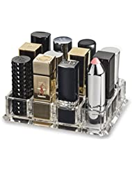 (Fits Large Based Lipsticks) Acrylic Lipstick Organiser & Beauty Care Holder Provides 12 Space Storage | byAlegory (Clear) Makeup Organizer