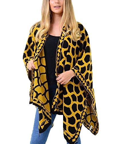 Islander Fashions Womens Reversible Kreis Jaquard Gestrickt Schal Damen Fancy Wrap Cardigan Poncho Cape Senf eine Gr��e Passt EU 36-54 Jaquard-wrap