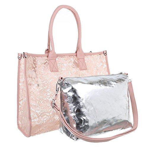 Damen Tasche, Große Tragetasche, Synthetik, TA-A-628 Rosa
