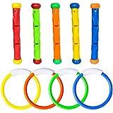 Fullsexy YHmall 9 Piezas Juegos Piscina de Jueguetes Piscina para Bucear Palos y Anillo de Buceo para Niños
