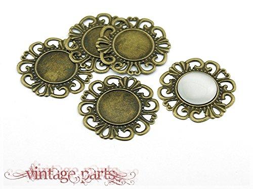 8 Fassungen filigran antik bronze für 18 mm Cabochons von Vintageparts, DIY-Schmuck