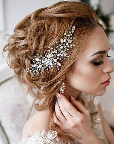 Simsly fermaglio pettine accessorio per capelli da sposa con cristalli frontino per donne e ragazze colore argento