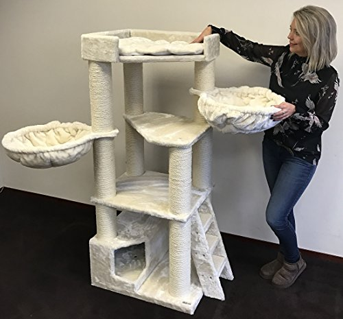 RHRQuality Kratzbaum große katze Corner Coon Creme Beige. Stabil 48KG!. Sisalstämme 12cmØ Katzenkratzbaum für große Katzen. Liegemulde 2 x 45cmØ geprüft bis zu 23kg