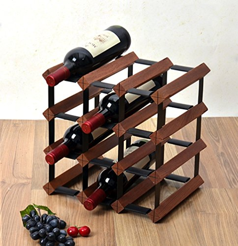 Jun casier à vin 4 tier autoportant bouteille de vin en bois tonneau casier à vin stand métal en acier en bois cabinet sturdy vintage style porte bouteille