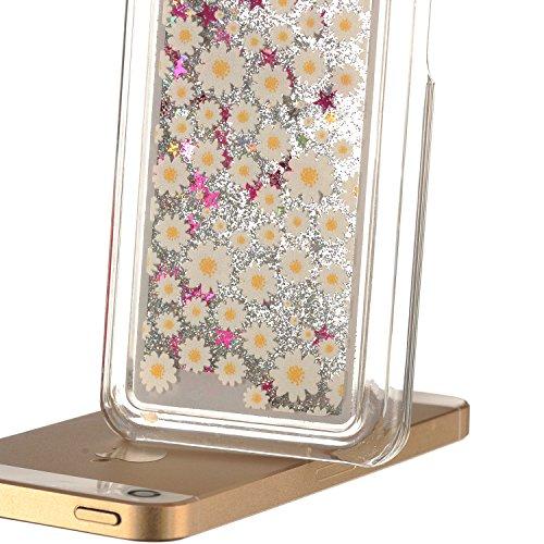 Für iPhone 5C Hülle,Für iPhone 5C Flüssigkeit Handyhülle,Funyye Luxus Luxuriös [Bunten Muster] Liebe Herzen Star Fließt Treibsand Durchsichtige Handytasche Glänzend Glitzer Diamond Diamant Fließen Flü Silber Glitter,Gänseblümchen