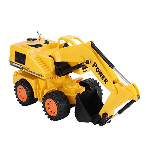 OCDAY Remote Control Car, 5CH 4 Wheel Vehicle, Kid's Toy Electric Wired Control Truck Built-in LED Light for Children's Gift (Excavator)
