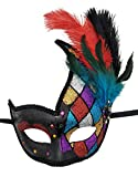 Coolwife Costume Masque Plume Mascarade Masque Halloween Mardi Gras Cosplay Parti Masque (À carreaux)