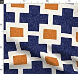 Plus, Kreuz, Quadrat, Leinen, Marineblau, Orange Stoffe -