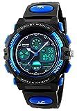 Digitale Kinder-Armbanduhr für Jungen, Mädchen, Outdoor-Armbanduhr, analoge Quarz-Armbanduhr mit Alarm, Blau