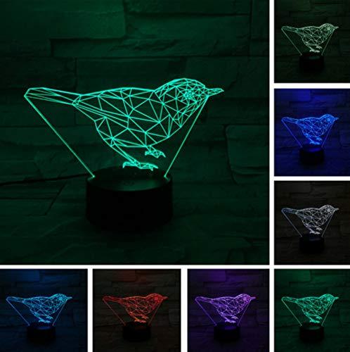 Niedliche 3D Vogel Tier Schreibtisch Tisch LED Nachtlicht visuelle Stimmung RGB 7 Farbwechsel Kinder Weihnachten Halloween Geschenk (Niedliche Halloween Namen Für Katzen)
