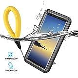 Samsung Galaxy Note 8 Funda Impermeable, Galaxy Note 8 Case 360 Degree Water Resistente Cover Carcasa Waterproof Cubierta Subacuática Antipolvere Robusto Militare Case (con Cordón de Flotación Negro)