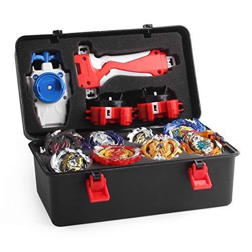 ZEJUN101 Conjunto de Peonzas Juguetes con Estuche Portátil,  12 Nuevo Nado Spinner con 2 Turbo Burst Launcher,  Gyro Spinning Pocket Box