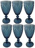 Vintage 6 Teile Set Glasnetz König Weinglas Glas Gläser Weingläser Wasserglas Longdrinkglas (blau)