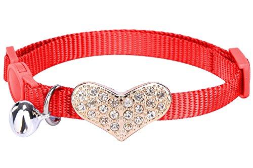 pupteck Breakaway Katzenhalsband personalisierten verstellbar Nylon sicheren Strass Herz Zubehör Kätzchen Halsbänder mit Glocke (Halloween Zubehör Bulk)