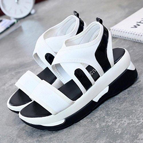 Vovotrade Sandales Dames Femmes Décontractée Chaussures de Sport Respirant Wedges Sandales Plateforme Pratiques Blanc