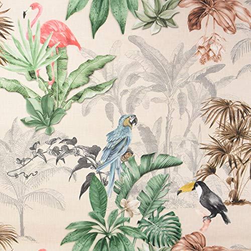 SCHÖNER LEBEN. Outdoorstoff Dralon Teflonbeschichtung Palmen Papagei Flamingo beige bunt 1,40m Breite
