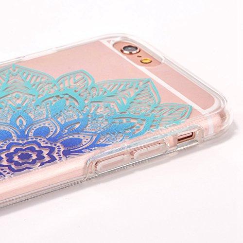 iPhone 6 Plus Custodia, iPhone 6S Plus Cover TPU Trasparente, JAWSEU Apple iPhone 6/6S Plus 5.5 Case Caso Coperture Bella Creativo Brillante Cristallo Trasparente Custodia Cover per iPhone 6S Plus Ult Floreale Blu