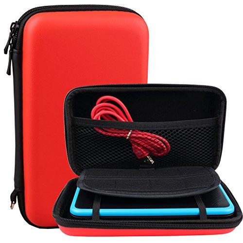 Exlene® Nintendo 2DS XL Tasche Schutz-Hülle EVA Hard Reise Schutzhülle + 3M usb-aufladungskabel,für Nintendo 2DS XL/ 3DS/ 3DS XL,Mit 8 Spielkassettenhaltern (Rot)