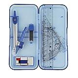 Set de géométrie Kit mathématiques Ink. Règle, équerre compas, angle Couteau, gomme dans une boîte transparent idéal pour l'école, 7pièces bleu