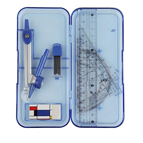 Geometrie Set Mathematik Set ink. Zirkel, Geodreieck, Lineal, Winkelmesser, Radiergummi im Transparentbox ideal für die Schule, 7-teilig