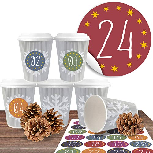 Adventskalender zum befüllen und basteln mit 24 Coffee-to-Go-Bechern (100% biologisch abbaubar)