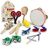 JaxoJoy 10 Pz Strumenti Musicali E Percussioni Giocattolo Rhythm Band Set Per Bambini