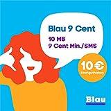 Blau 9 Cent (SIM, Micro-SIM und Nano-SIM), ohne Vertragslaufzeit, 10MB/Monat, nur 9 Cent/Min. in alle dt. Netze, 0€/Monat, 1. Monat inkl., O2 Netz