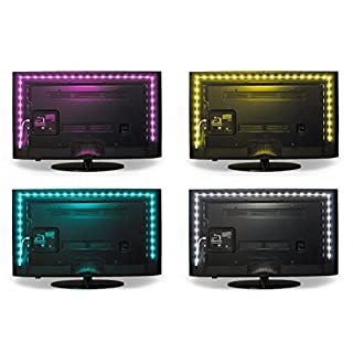 Luminoodle Color Bias Lighting - Small - 15 Color LED Strip Lights with Remote - USB Powered TV Light, RGB Computer Monitor Backlight