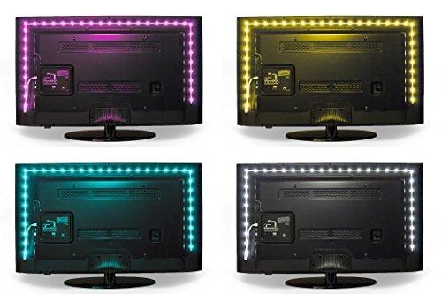 Luminoodle USB LED Hintergrund-Beleuchtung für TV in Farbe, 15 Farben, RGB LED-Bias Beleuchtung für HDTV-, TV-Bildschirm und PC-Monitor, LED-Strip selbstklebend (1 Meter)