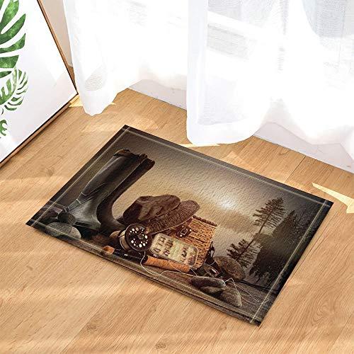 ZZ7379SL Western Decor Cowboyhut Stiefel gegen Wald und See Bad Teppiche 3D Digitaldruck 40x60CM Schlafzimmer Küche Kinder Badezimmer Matten Zubehör - Western-stiefel-zubehör